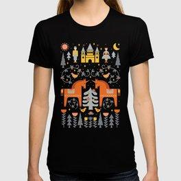 Scandinavian Fairy Tale Gray + Orange T-shirt
