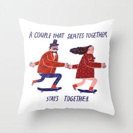skate couple Throw Pillow