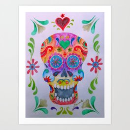 Mexican Calaca Sugar Skull Painting Art Print
