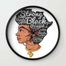 Melanin Afro Motivation Woman Wall Clock