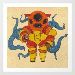 Red Scuba Diver Art Print