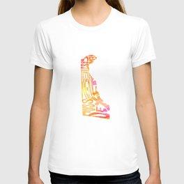 Typographic Delaware - orange watercolor map T-shirt