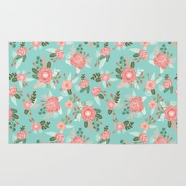 Flowers pastel mint painting watercolor abstract minimal gender neutral florals nursery baby kids Rug