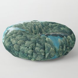 Mountain in a Lake - Landscape Photography Floor Pillow