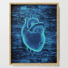 Gamer Heart BLUE TECH / 3D render of mechanical heart Serving Tray