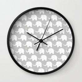 Elephant Parade on Grey Wall Clock