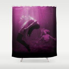 Mermaid Saves Drowning Victim in Fuchsia Pink Underwater Scene Shower Curtain