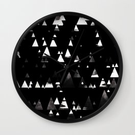 Faded white triangles pine forest on black Wall Clock