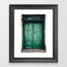 Green old door Framed Art Print