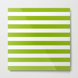Spring Fresh Apple Green & White Stripes - Mix & Match with Simplicity of Life Metal Print
