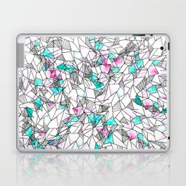 Pink and Teal Abstract Watercolor and Geometric Laptop & iPad Skin