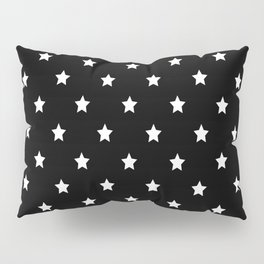 Black Background With White Stars Pattern Pillow Sham