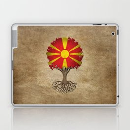 Vintage Tree of Life with Flag of Macedonia Laptop & iPad Skin
