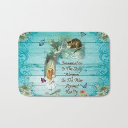 Floral Alice In Wonderland Quote - Imagination Bath Mat