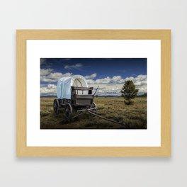 Frontier Prairie Schooner Covered Wagon in the Grand Tetons Framed Art Print