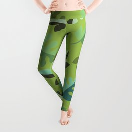 Shades of Green Leaves Leggings