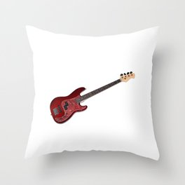 Bass guitar in cherry-colored wood on a white background Throw Pillow