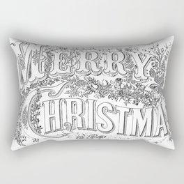 Vintage Merry Christmas Holiday Greeting (Black Text) Rectangular Pillow