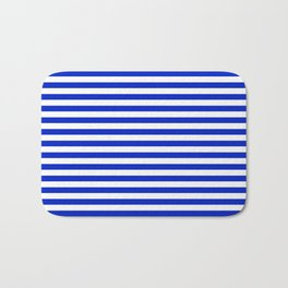 Cobalt Blue and White Thin Horizontal Deck Chair Stripe Bath Mat