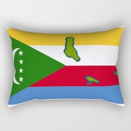 Comoros Flag with Map of the Comoros Islands Rectangular Pillow