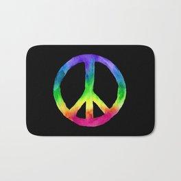 Rainbow Watercolor Peace Sign - Black Background Bath Mat