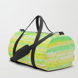 Lime Yellow Random Line Sections Duffle Bag