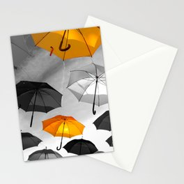 Yellow  is my color - Yellow and Black Umbrellas Stationery Cards