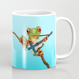 Tree Frog Playing Acoustic Guitar with Flag of Finland Coffee Mug