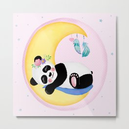 Baby Panda Girl with Moon and Dreamcatcher Metal Print