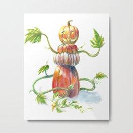Pumpkin Golem Metal Print