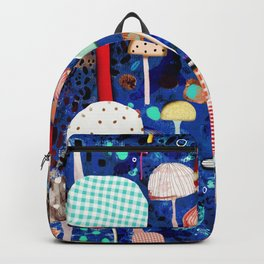 Blue Mushrooms - Zu hause Marine blue Abstract Art Backpack