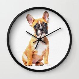 French Bulldog Puppy Watercolor Wall Clock
