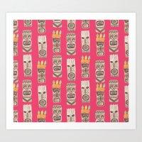 tiki Art Prints featuring Tiki by Abby Galloway