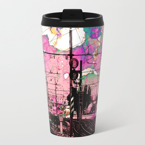 All About the Journey, Abstract Grunge Train Metal Travel Mug