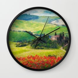 Rolling Hills of Tuscany, Italy with Red Poppy Fields landscape painting Wall Clock