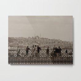 Fishermen on Galata Bridge (Istanbul, TURKEY) Metal Print