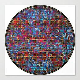 Red Grunge Wall Tondo Canvas Print