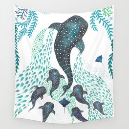 Whale Shark Pod Voyage Ocean Print Wall Tapestry