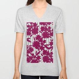 Modern geometric gray white burgundy red floral Unisex V-Neck