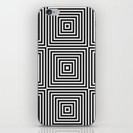 Square Optical Illusion Black And White iPhone Skin