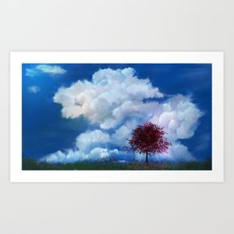 Red Tree in the Clouds Art Print