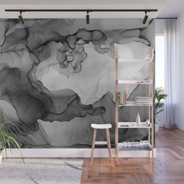 Black and White Ink Painting Abstract Flowing Wall Mural