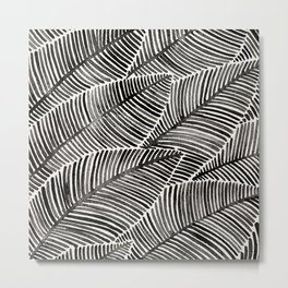 Tropical Palm Leaves – Black Palette Metal Print