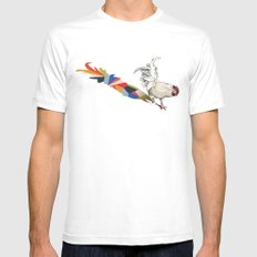 Walking Shadow, Rooster MEDIUM White Mens Fitted Tee