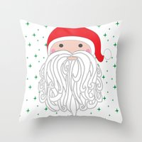 santa Throw Pillows featuring Santa by Doucette Designs