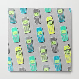 Vintage Cellphone Pattern Metal Print