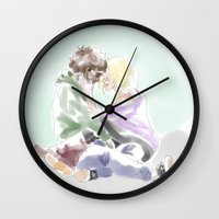 les mis Wall Clocks featuring jehan and grantaire les mis by Pruoviare