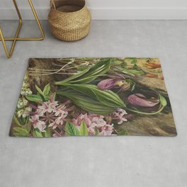 New England Lady Slipper Wild Orchids still life painting Rug