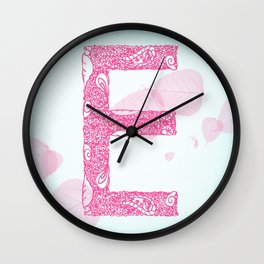 Floral Letter 'E' Wall Clock
