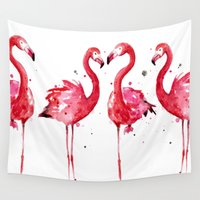 flamingo Wall Tapestries featuring Flamingo by Sam Nagel
